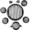 Royal Enfield Black Headlight Grill Cover Combo Set for Bullet Classic 350 & 500