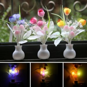 LED Mushroom Colorful Night Light Romantic With Light Dependent Resistor (LDR), Night Lamp 0.2 Watt, Lamp Home Illumination With Indian Pin