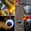 "2 In 1 Universal Motorcycle Handlebar White + Turn Signal Grip Bar End LED Light, 7/8""22 Mm Handlebar Weight"