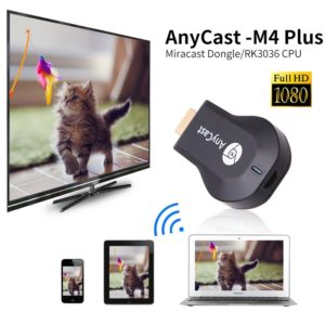 1080P AnyCast M4 Plus Wireless WiFi Display Dongle Receiver, 1080P HDMI Media Video Streamer TV Stick DLNA Airplay Miracast Chrome Cast