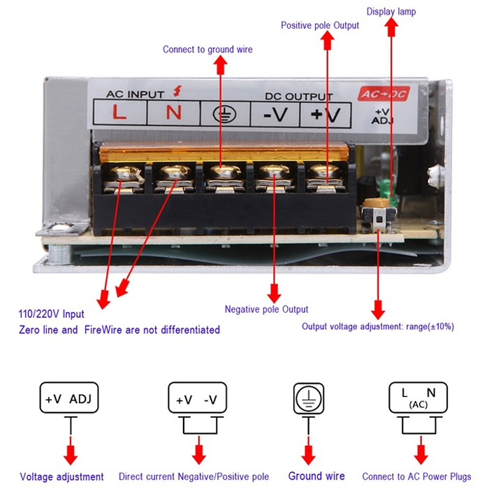 12 Volt 5 Amp, 60W SMPS/ 12V 5A Power Supply, SMPS, Driver, Switch ...