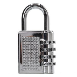 Silver 4 Dial Combination Code Padlock Locker Door Toolbox Suitcase Bag Lock, 4 Digit Re-Settable Combination Lock