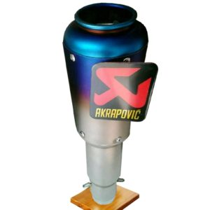 Universal AKRAPOVIC Sticker Long Blue Head Round Steel Exhaust Silencer for All Bikes KTM DUKE