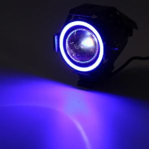 Cree U7 LED Motorcycle Headlight Fog Spot Light Lamp (White Angle Eyes + Blue Devil Eye) 3000LM