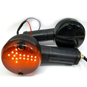 Universal 18 LED Front Rear Arrow Indicator For Royal Enfield & All Bikes, Black Amber, 12 Volt -1 Pair