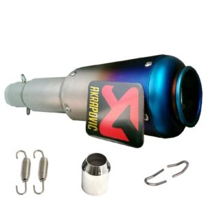 Universal AKRAPOVIC Sticker Long Blue Head Round Steel Exhaust Silencer for All Bikes KTM DUKE