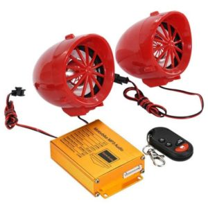 Motorcycle Bike Anti Theft Alarm With MP3 Player Sound System With 2 Speakers, MP3/FM/USB/ TF Card Reader, Remote Control