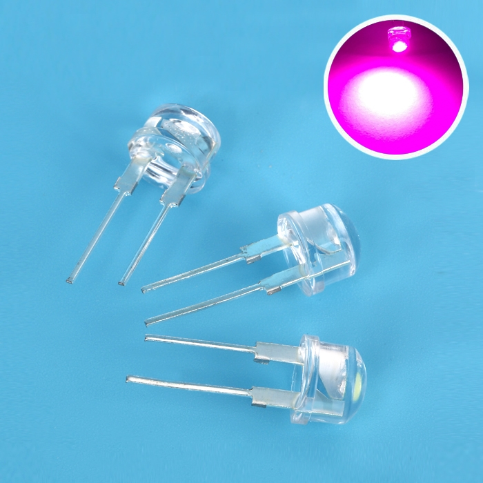 Pink Super Bright 8mm Straw Hat 0.5W, 8 Mm LED Light Emitting Diodes Lamp  LEDs For DIY Projects