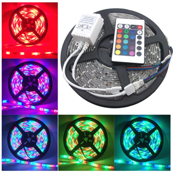 5 Meter RGB 3528 Waterproof 300 LED Flexible Strip With IR Remote Controller & 12 Volt