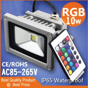 Waterproof RGB 10W LED Flood Light AC 110-264V Spotlight For Indoor & Outdoor Use