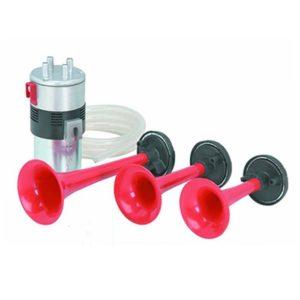 Stebel Italian Design Set Super Loud 3 Trumpet Air Horn Kit for Bike/ Car/ Bus/ Truck, 12 Volt DC Power Air Horn