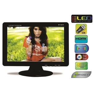"WORLDTECH LED TV 13.5"" USB/ Mini HDMI, Memory Card/ Camera/ AV IN-OUT, Monitor LCD Screen For Automobile, CCTV Screen & Home"