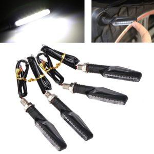 White Universal Bike Motorcycle 9 LED Turn Signal Indicators Light Lamp For All Indian Bikes