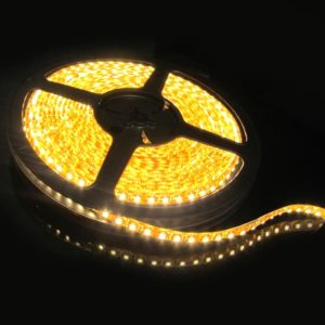 Yellow/ Amber 5 Meter SMD 3528 LED Flexible Strip Tape 300 LED Light For Home Decor, Automobile, Indoor & Outdoor Lighting Rope + Free 12 Volt DC LED Driver