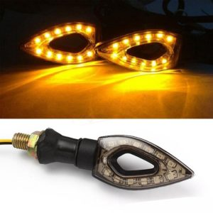 Yellow/ Amber Universal Heart Shape 11 LED Turn Signal Indicators Light Lamp For All Indian Bikes/ Motorcycle