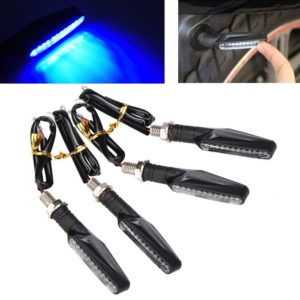 Blue Universal Bike Motorcycle 9 LED Turn Signal Indicators Light Lamp For All Indian Bikes