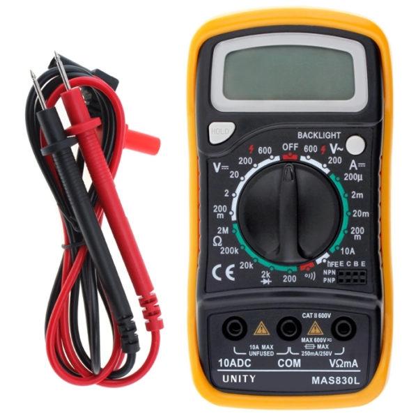 UNITY MAS830L Digital Handheld Multi Meter Multi-Tester White/ Blue Back-Light LCD